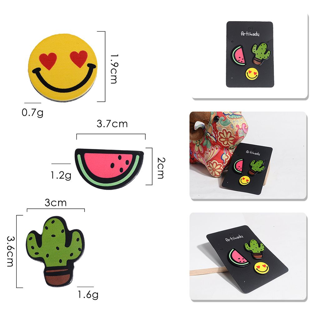 Cartoon Cactus Flamingo Acrylic Brooch For Women / Men Clothes Decorative Badge Rozet Lapel Neck Scarf Pin Jewelry
