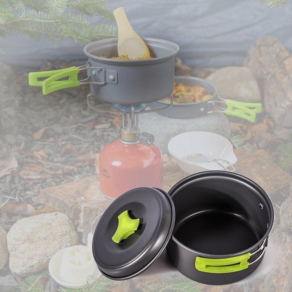 Outdoor Cookware Set Cooking Utensils Lightweight Compact Pot Pan Bowls for Camping Hiking Backpacking and Picnic