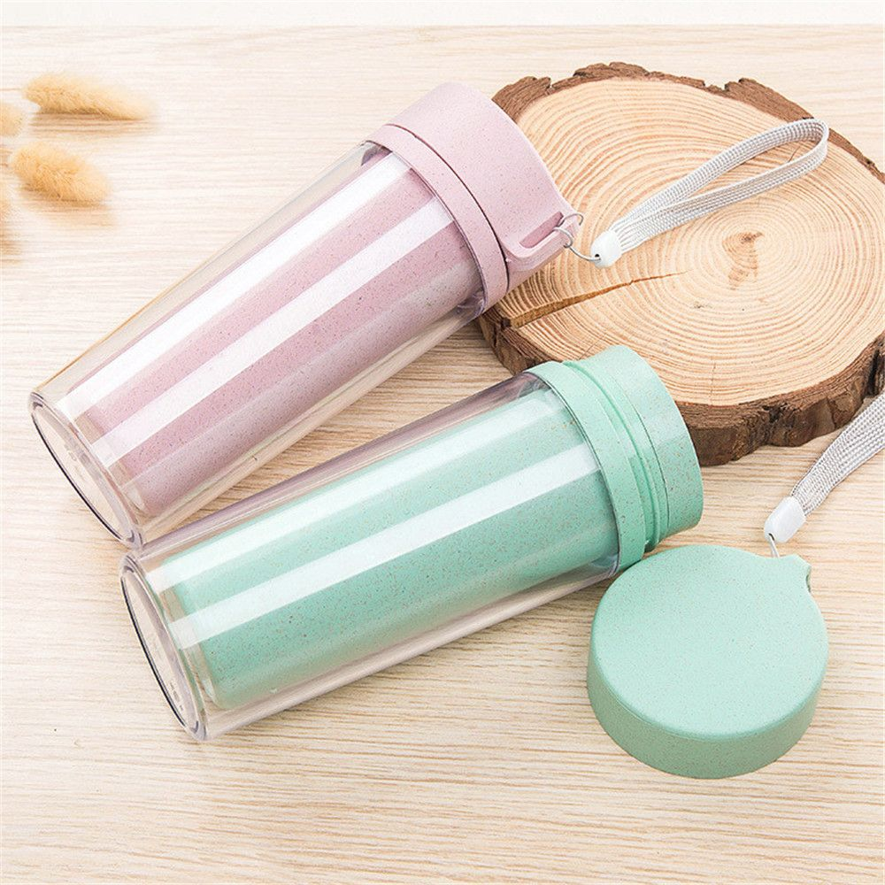 Hot Sale Double Wall Wheat Straw Readily Cup 301-400ML Coffee Thermal Bottle