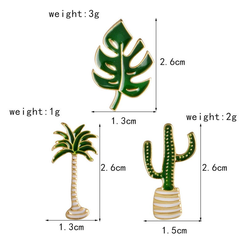 Cartoon Plant Green Brooch Leaves Potted Cactus Palm Plants Metal Pins Clothing Fashion Button Pin Badge Gift Jewelry