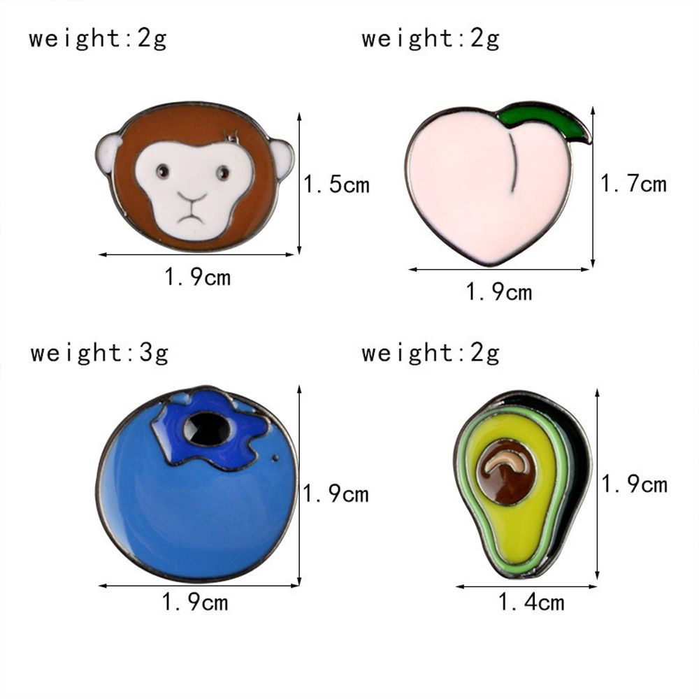 Cute Monkey Blueberry Alloy Peach Avocado Oil Metal Brooch, Jewelry Brooch Wholesale Decoration For Women Gift