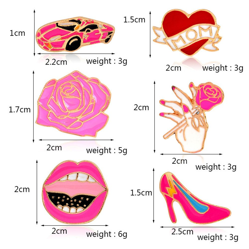 Car Rose Heart High Heels Lips ShoesBrooches Pins Button Denim Jacket Badge Pin for Shirt Bag Gift Jewelry