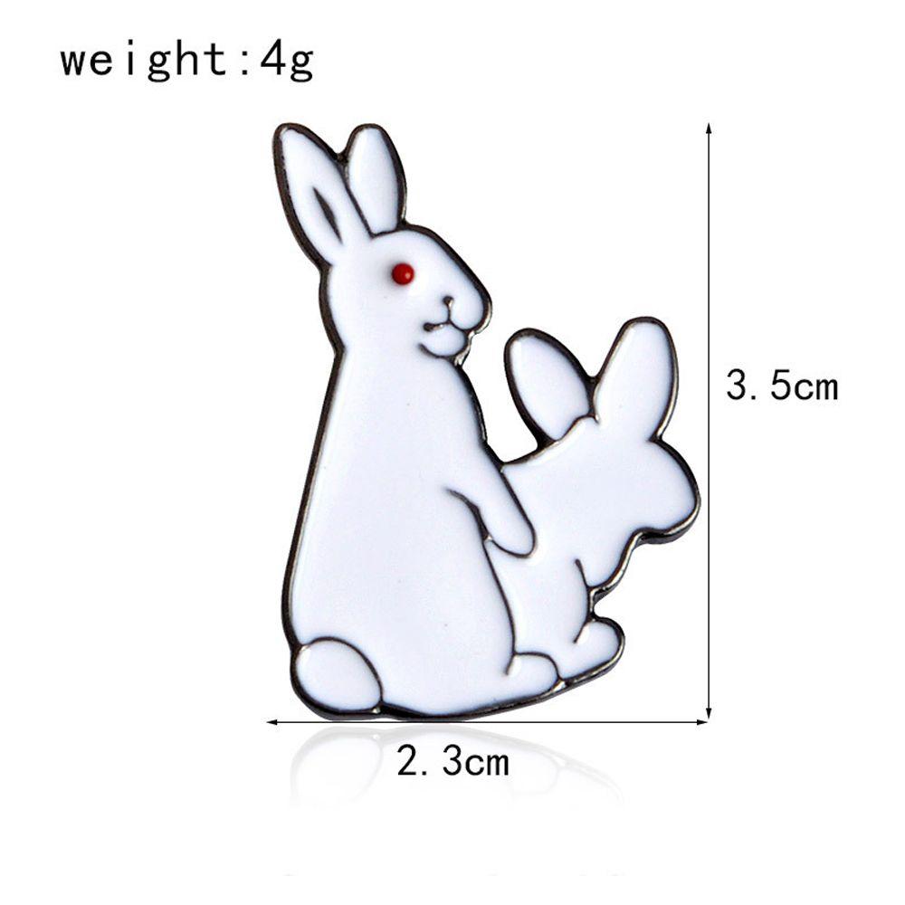 White Rabbits Brooch Enamel Funny Animal Metal Button Pins Bag Jacket Badge Pin Fashion Jewelry