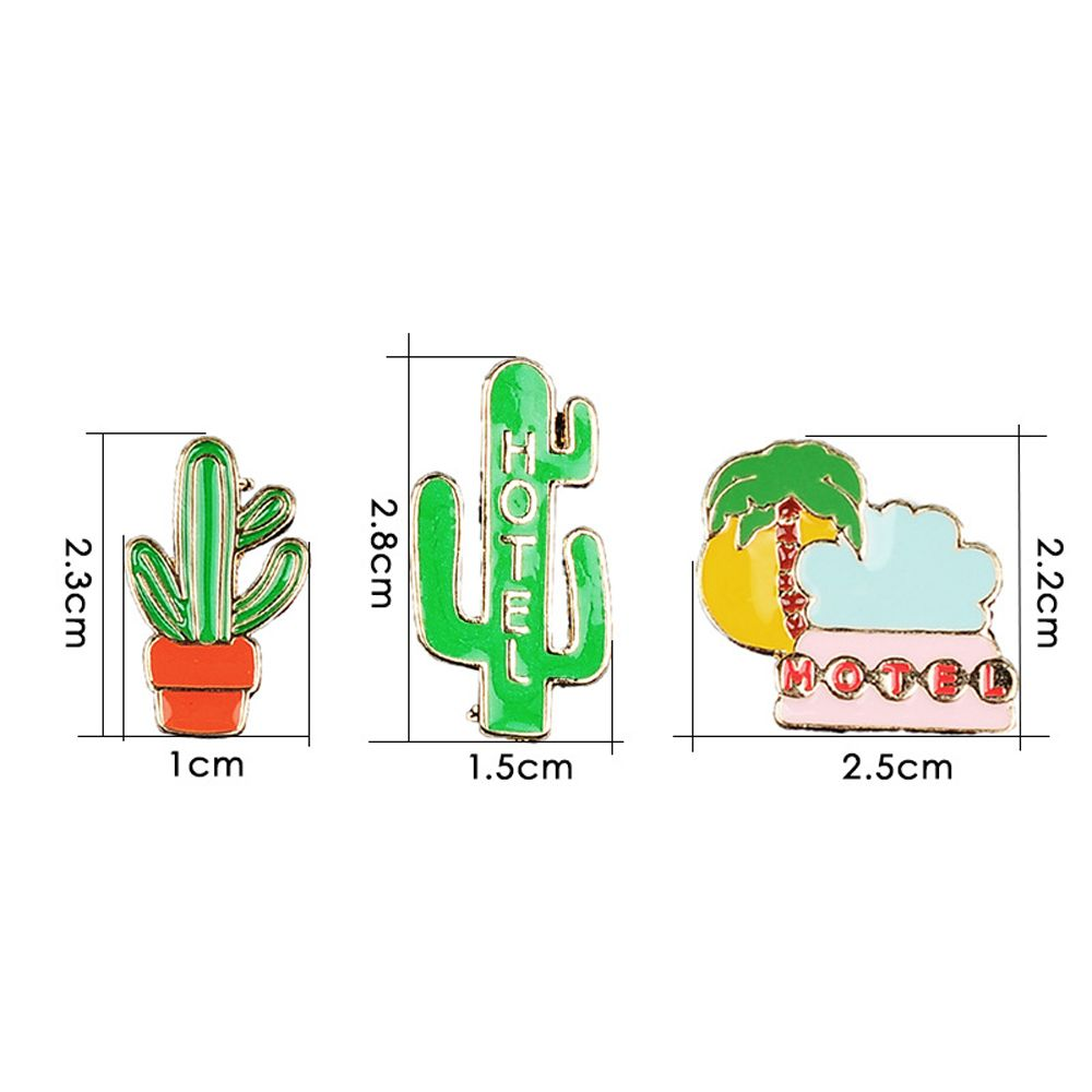 Summer Enamel Brooch Set for Women Cactus Beach Style Set Brooch Necklace Women Jewelry