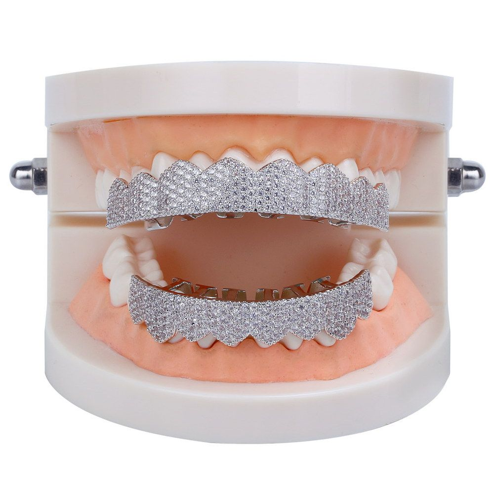 Hip Hop 18K Gold Plated Micro Pave Cubic Zircon Teeth Grillz