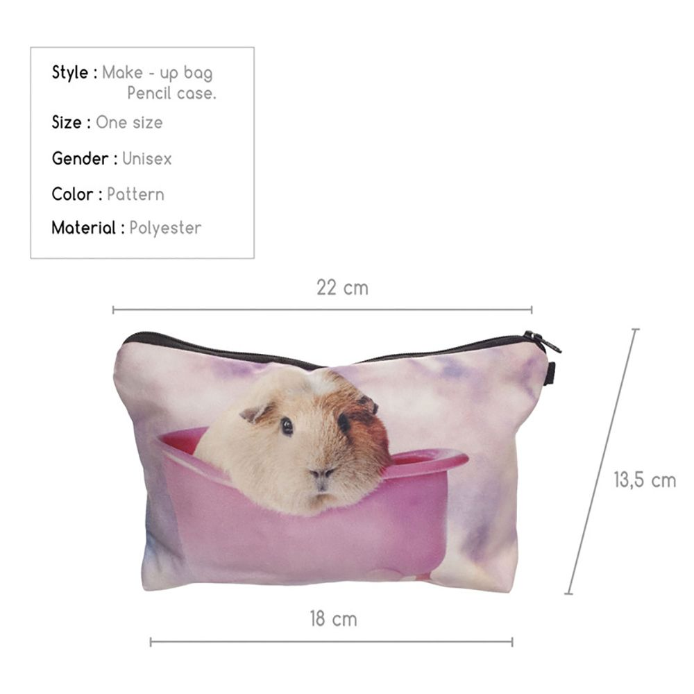 3D Hamsters Printing Cosmetic Bag Fashion Makeup Bag Women Pouch Coin Purse Storage Bag