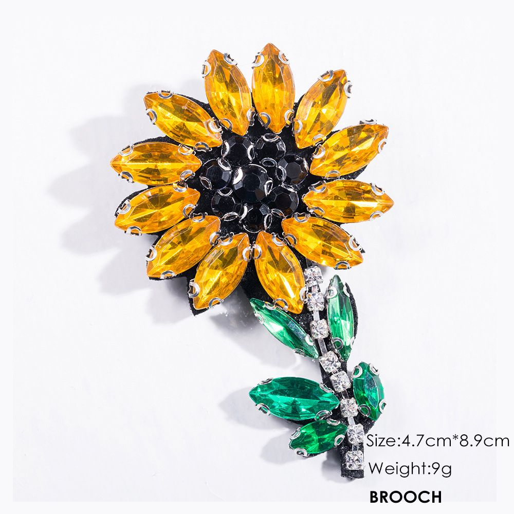 Fashion Handmade Shiny Crystal Flower Brooch Brooches Colorful Summer Style For Women Party Jewelry