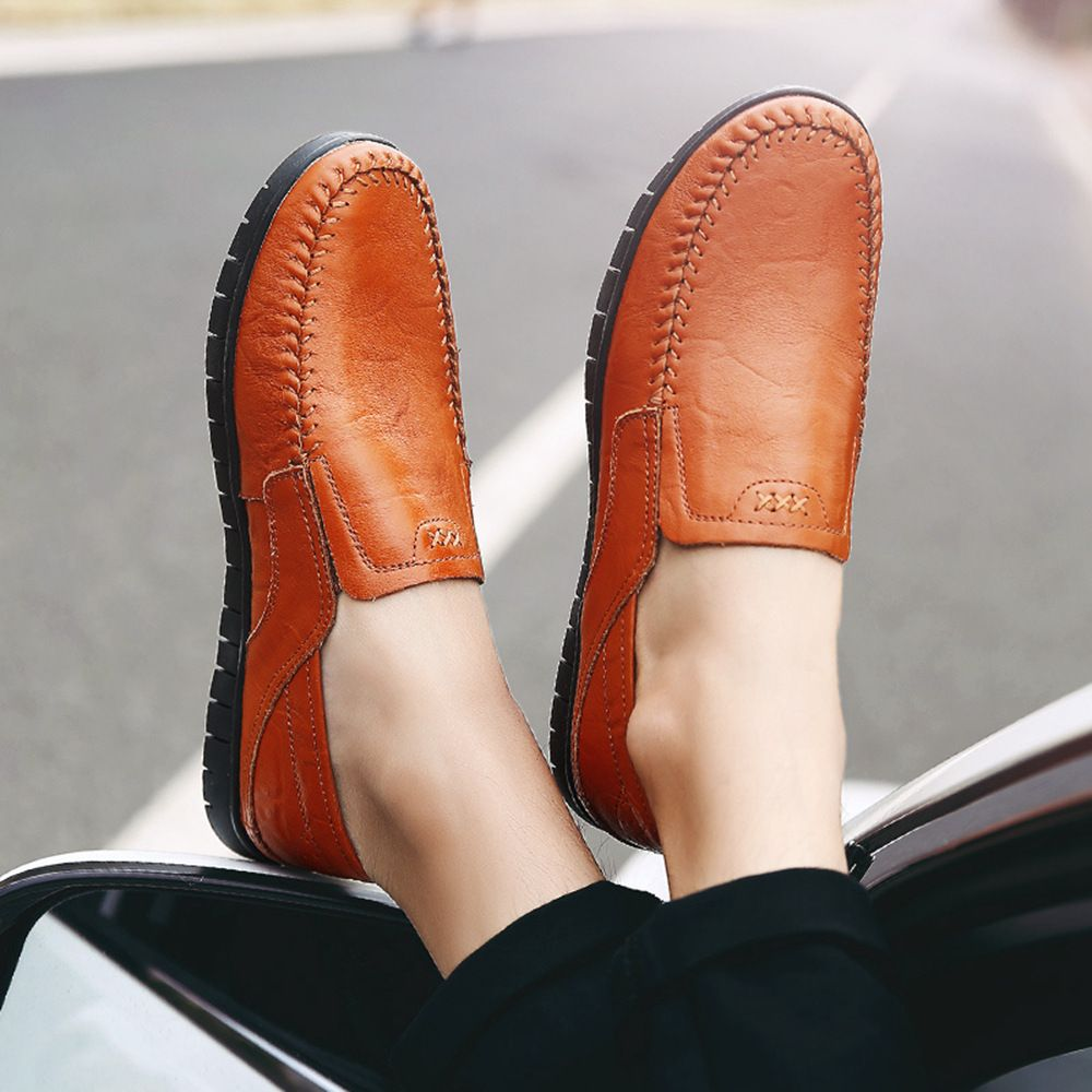 CROCODILE 2018 New Leather Flat Doug Men's Shoes 8082