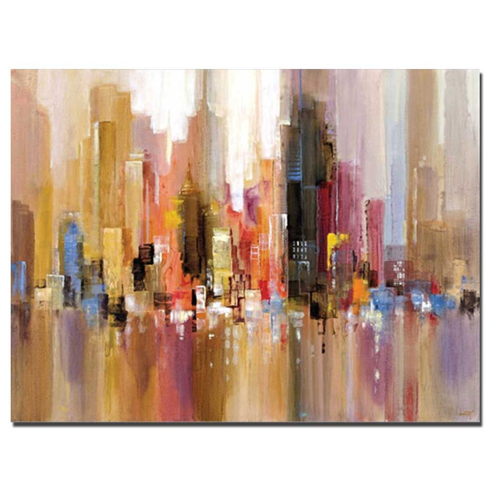 Pure Handmade Abstract Building Oil Painting on Canvas Living Room Wall Decor No Frame