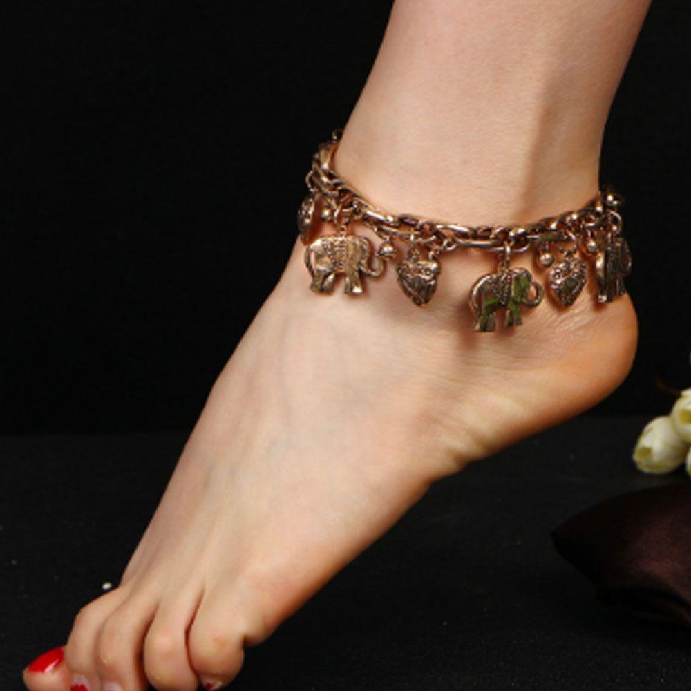 Vintage Carved Elephant Anklets