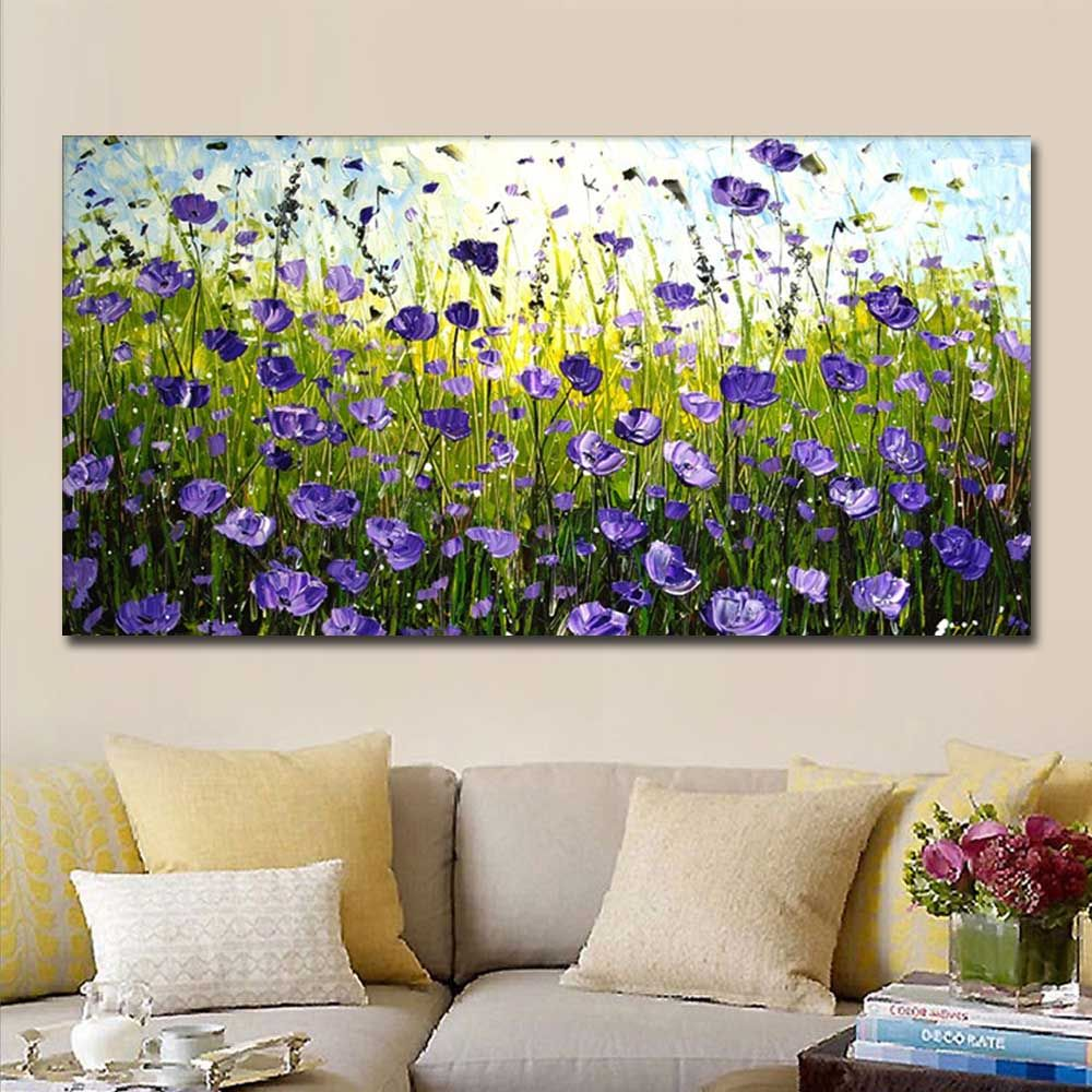 Hand Painted Abstract Purple Field Landscape Oil Painting on Canvas Living Room Bedroom Wall Decor No Framed