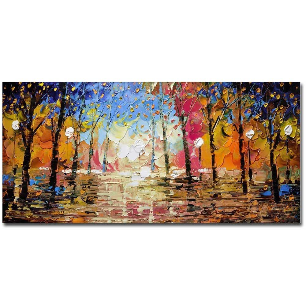High Quality Hand Painted Abstract Palette Knife Landscape Oil Painting on Canvas Living Room Bedroom Home Wall Decor