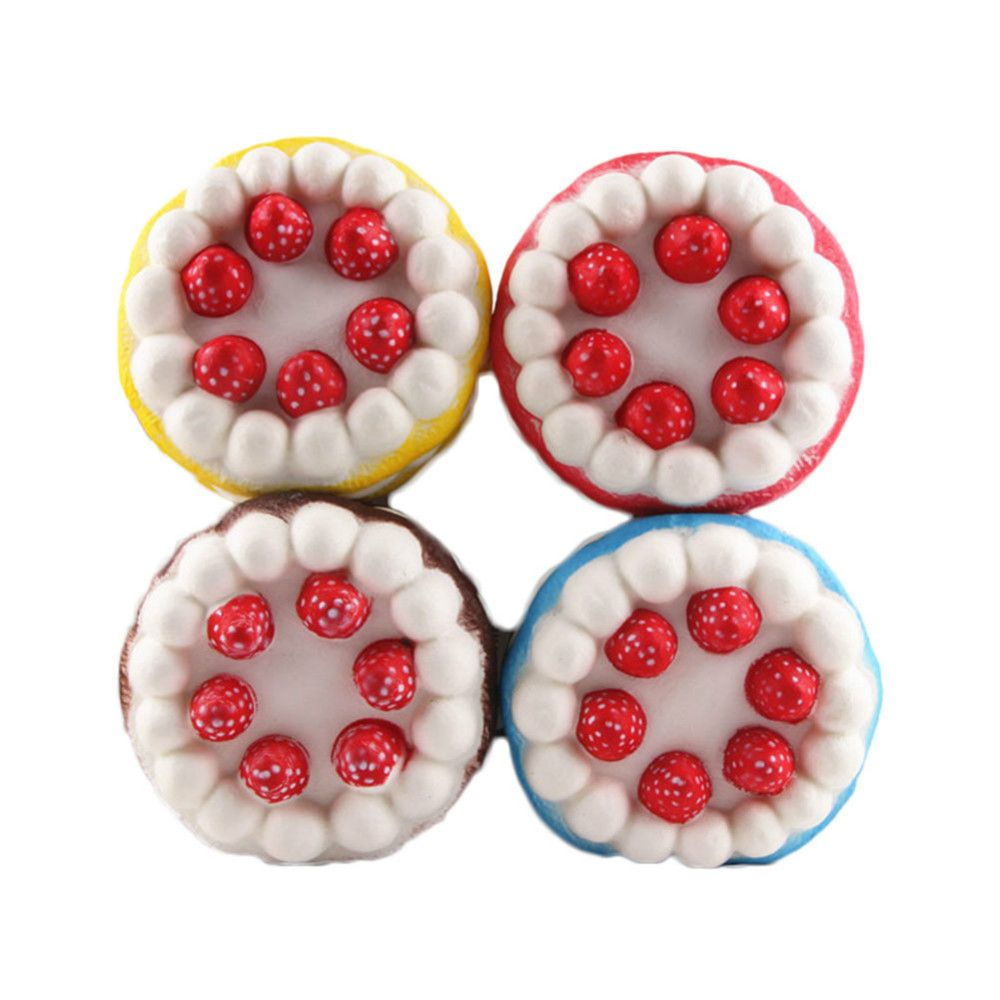 Funny Squishy Toy Made By Enviromental PU Material Replica Three-tiered Strawberry Cake for Different Age Group