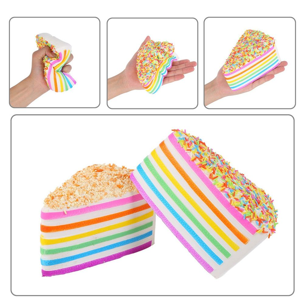 Colorful Squishy Colossal Triangle Cake Sugar Cream Super Squishies Slow Rising Scented Bread Squeeze Toy Gift