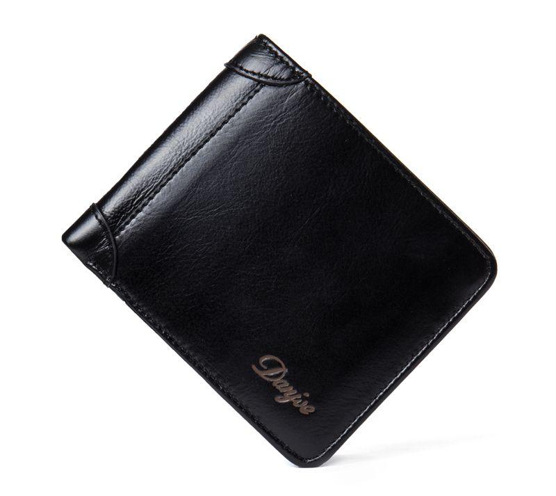 DANJUE New Wallets Men Luxury Genuine Cow Leather Brand Man Purse Vintage Short Big Capacity Business Designer Licence