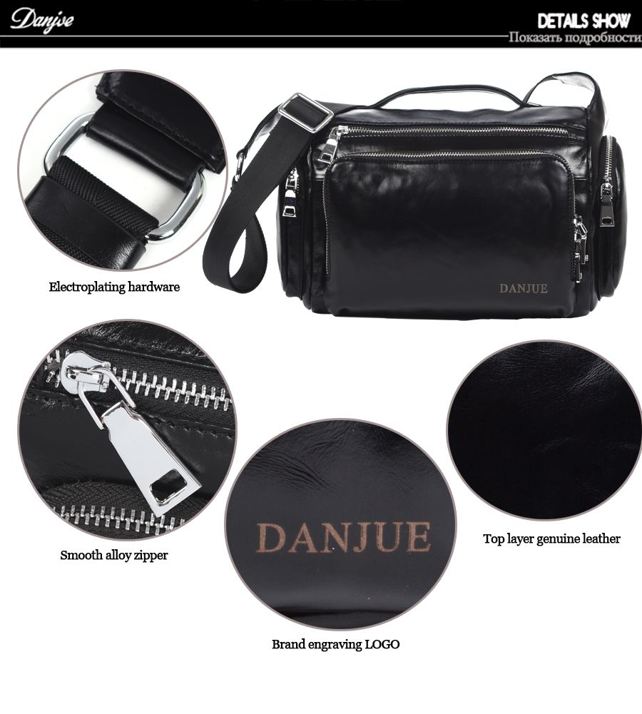 DANJUE Men Shoulder Bag Genuine Leather Men Messenger Bags Cowhide Designer Brand High Quality Men'S Travel Crossbody