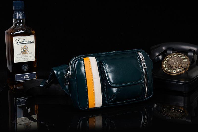 DANJUE Genuine Leather Men'S Waist Bag Patchwork Men Packs Belt Phone Bag Oil Wax Leather Men Travel Bag Male Bag