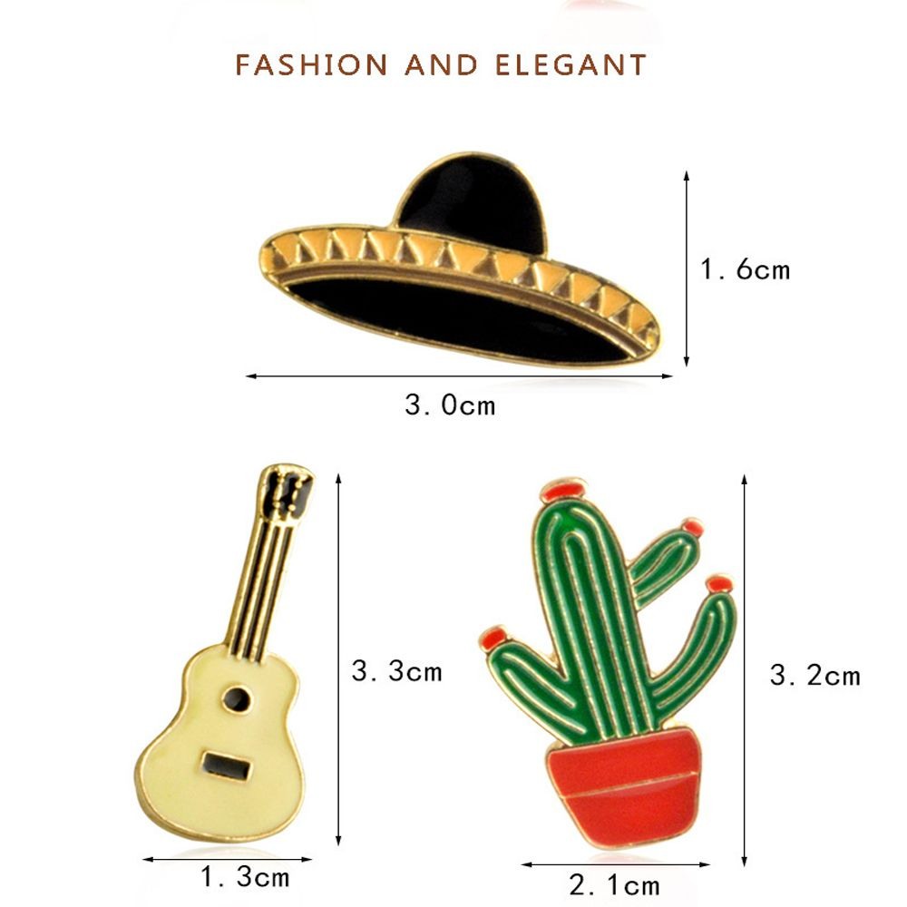 Potted Plants Cactus Guitar Spaceship Brooch for Girls Cartoon Children Bag Backpack Clothing Pin Badge Button Pin Ename