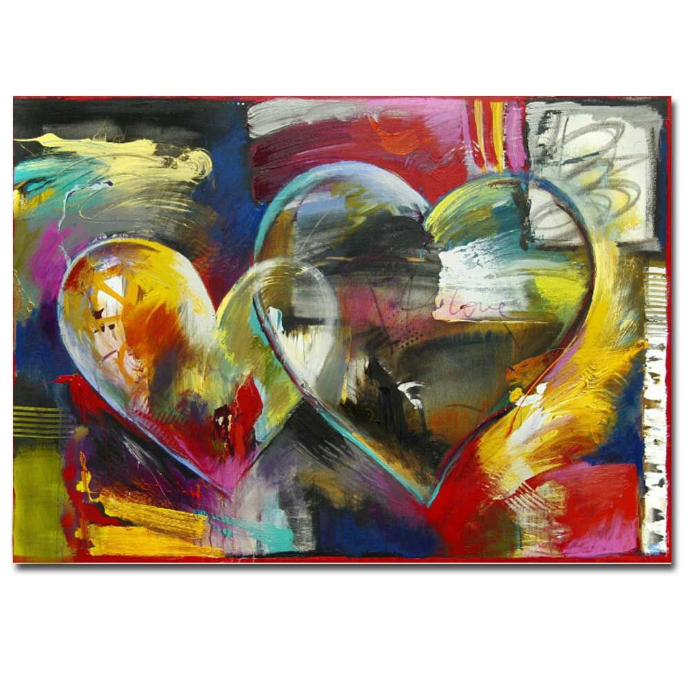 Modern Hand Painted Abstract Heart Sharp Oil Painting on Canvas Living Room Home Wall Decor No Frame