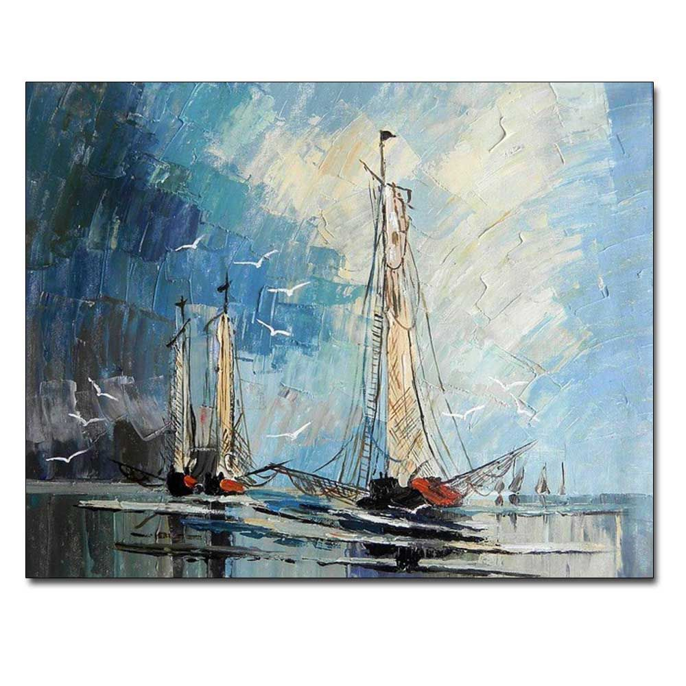 Hand Painted Abstract Sailboat Seascape Oil Painting on Canvas Living Room Bedroom Home Wall Decor No Framed