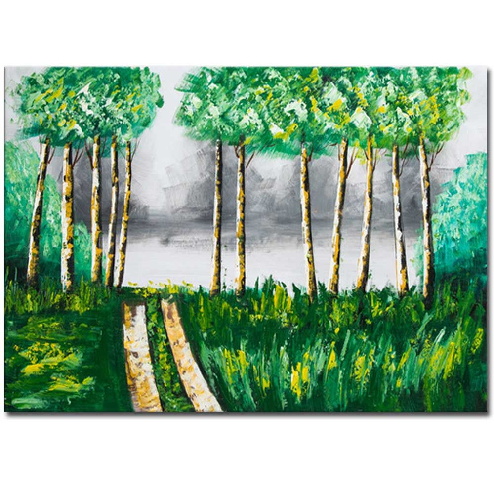 Hand Painted Abstract Forest Landscape Oil Painting on Canvas Wall Art Decoration No Framed