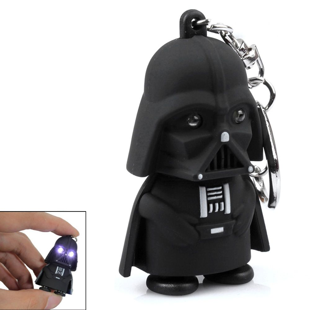 Creative Star Wars Black Warrior Cartoon LED Luminous Sound Key Chain Pendant