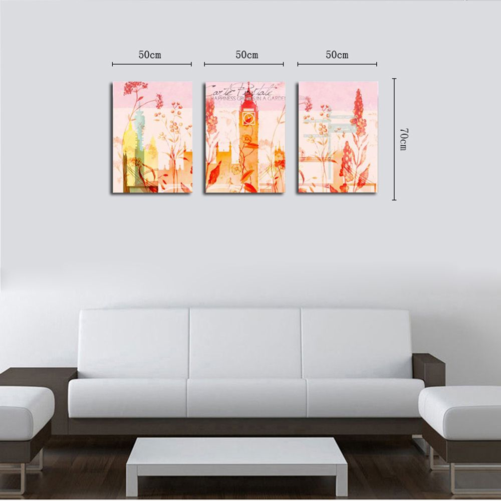 QiaoJiaHuaYuan No Frame Canvas Three Pieces of Painting Abstract Scenery Living Room Sofa Background Decoration Hanging
