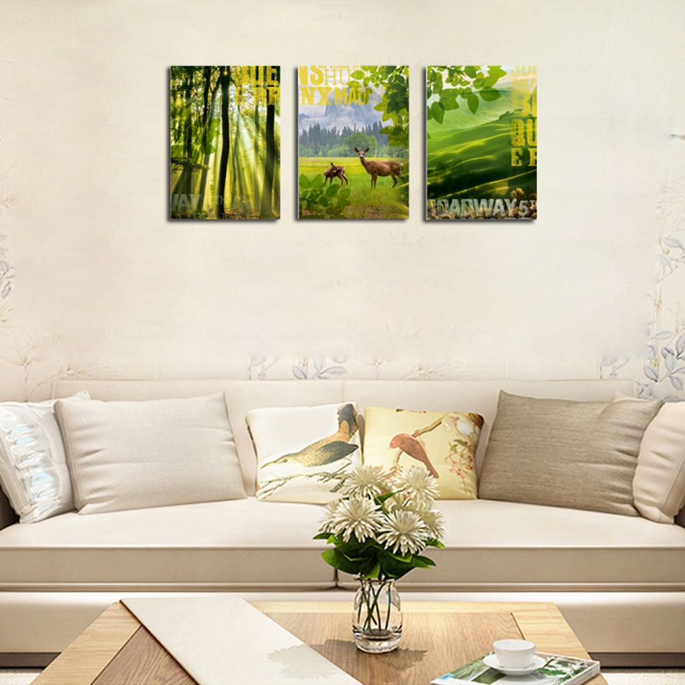 QiaoJiaHuaYuan No Frame Canvas Three Pieces of The Living Room Sofa Background Decorated With Green Forest Scenery