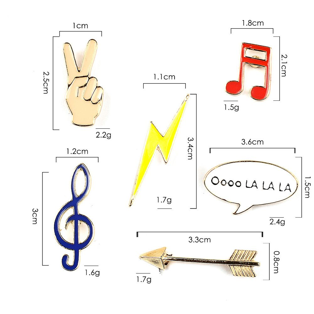 Victory Music Note Lightning Arrow Brooch Button Pins Jacket Denim Pin Badge Gift Fashion Jewelry for Women Men