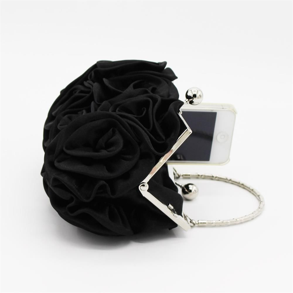 The silk flower with diamond evening clutch bag and wedding handbag