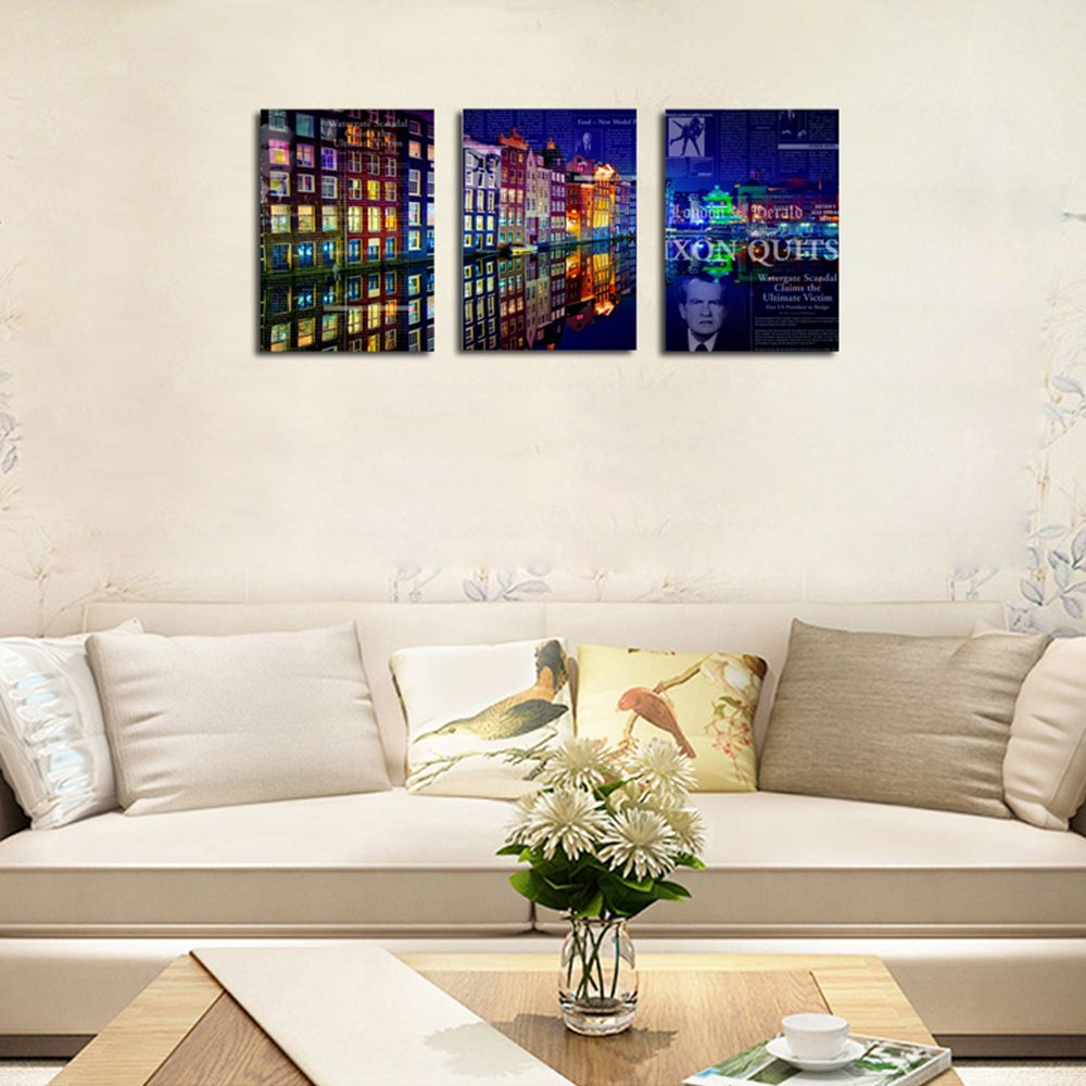 QiaoJiaHuaYuan No Frame Canvas Living Room Bedroom Background Abstract City Night View Decoration Print