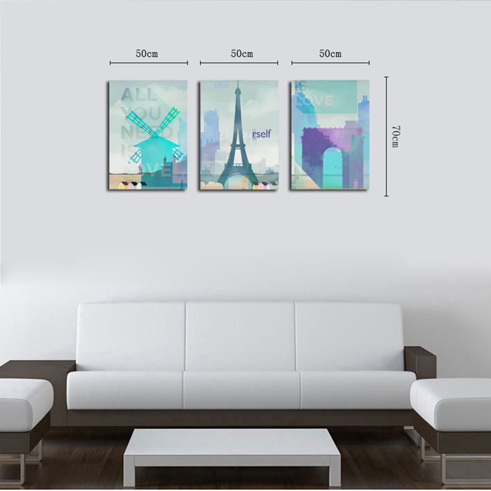 QiaoJiaHuaYuan No Frame Canvas Sanlian Painting Small and Fresh Living Room Sofa Background Decoration Hanging Painting