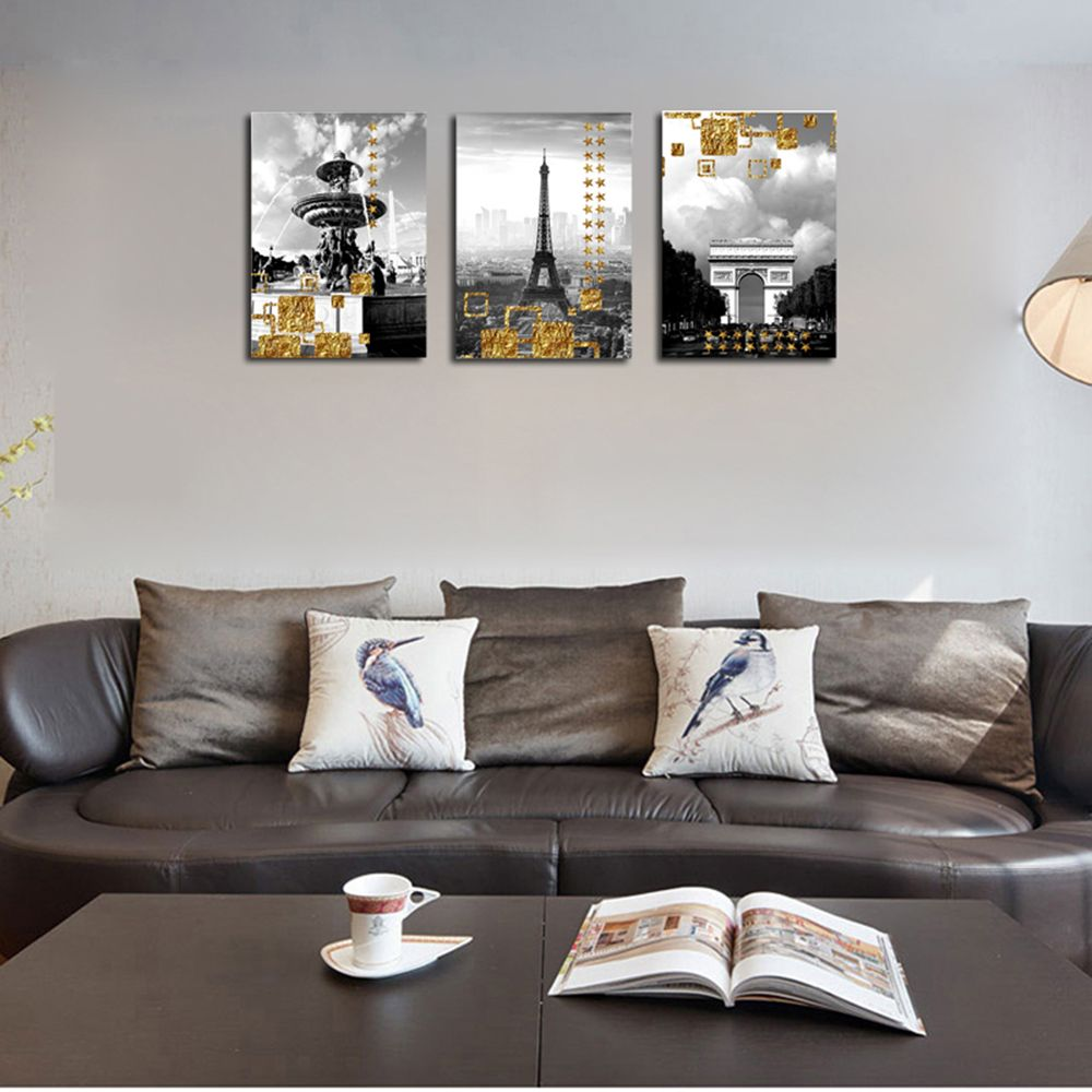 QiaoJiaHuaYuan No Frame Canvas Living Room Three Pieces of Sofa Background Decoration Hanging Painting Building Street V
