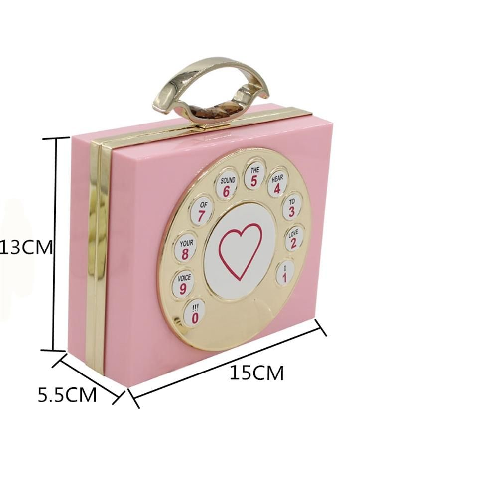 New Arrival Minaudiere Pvc Day Clutches Open Manufacturers Selling High-end Antique Telephone Banquet Dinner bag