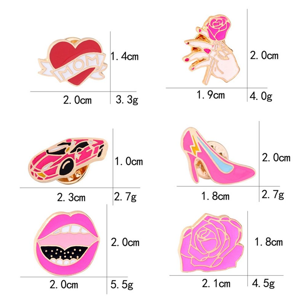 6 Pcs Women's Brooch Sweet Style Color Block Faddish Elegant Accessory