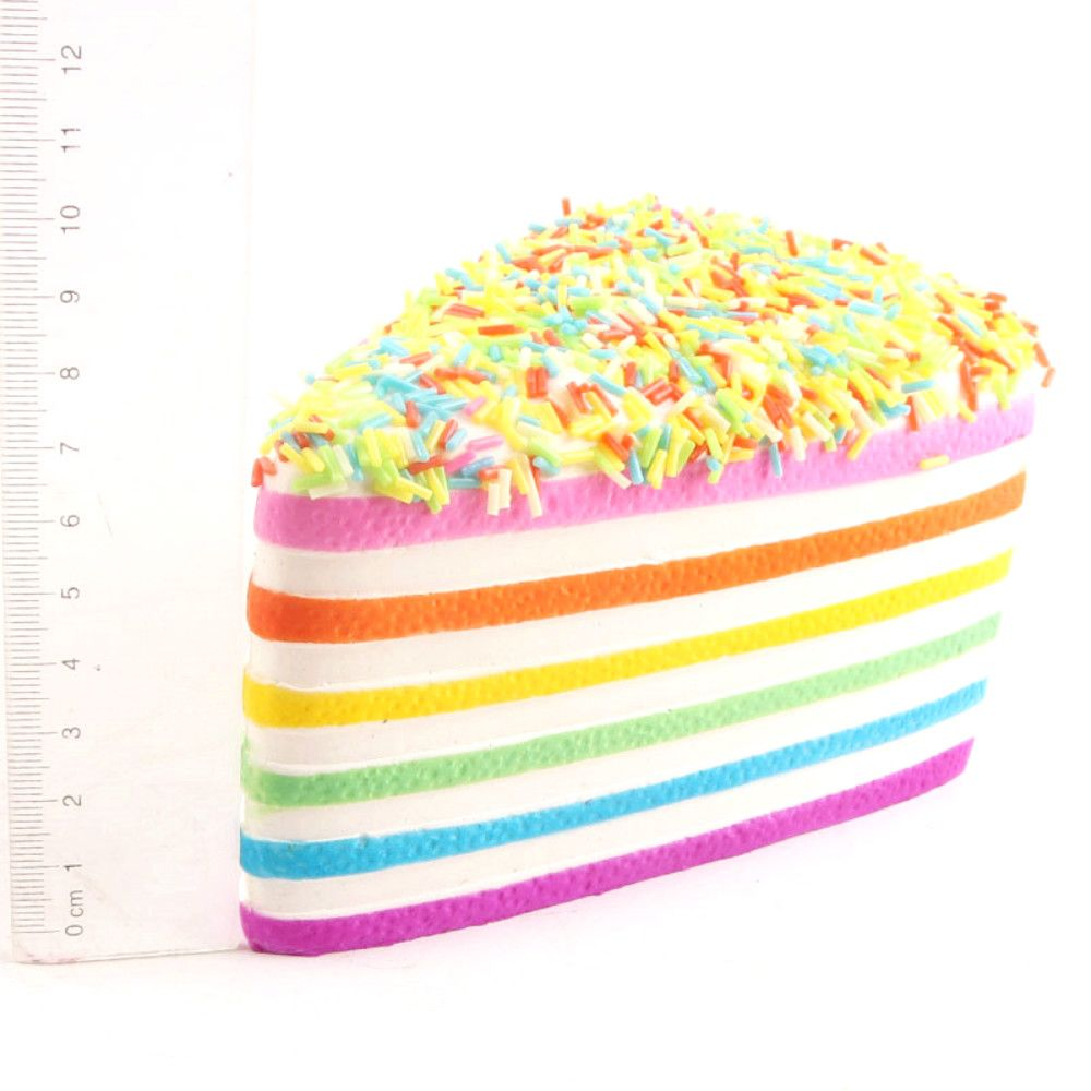 Funny Squishy Toy Made By Enviromental PU Material Replica Triangular Rainbow Cake for Different Age Group