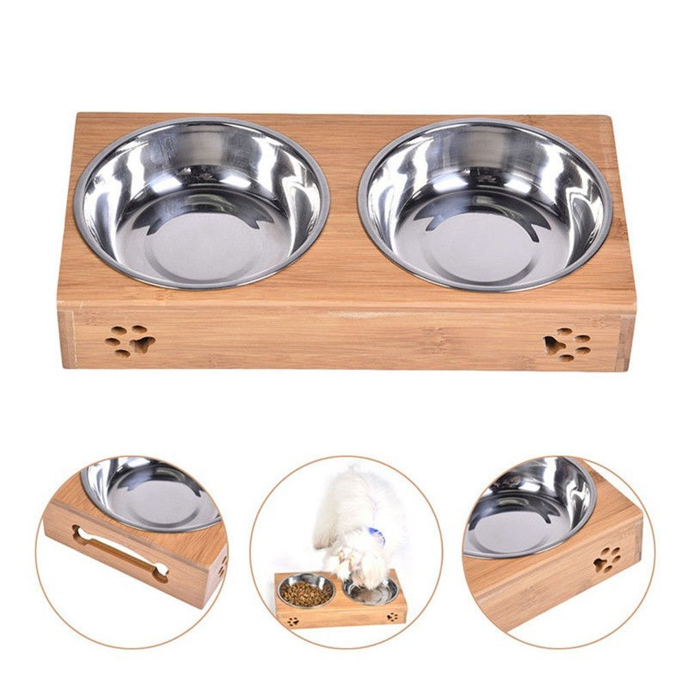Dog Teddy Golden Bamboo Pet Double Bowl