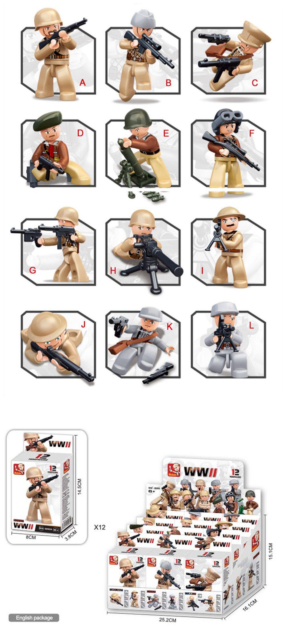 Sluban Building Blocks Educational Kids Toy 12 Models Assorted Army Set Military Toys