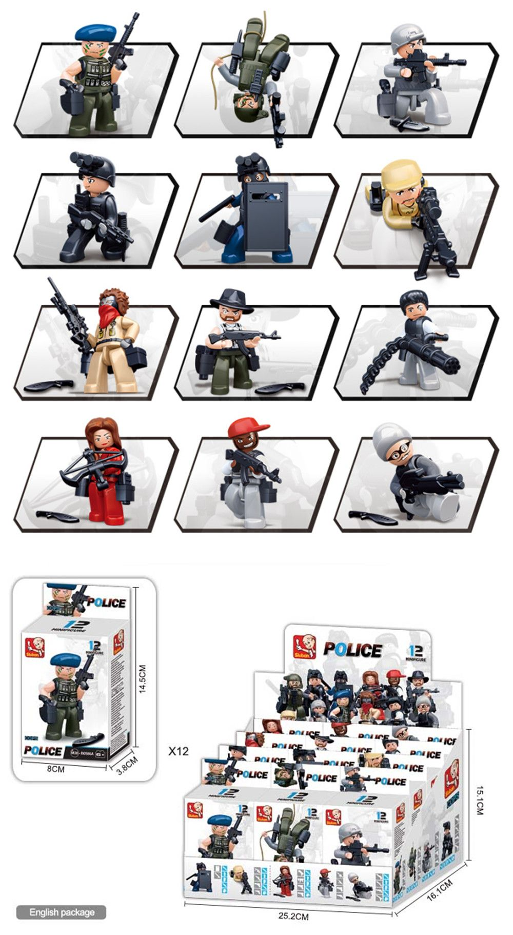 Sluban Building Blocks Educational Kids Toy Police Set 1PC