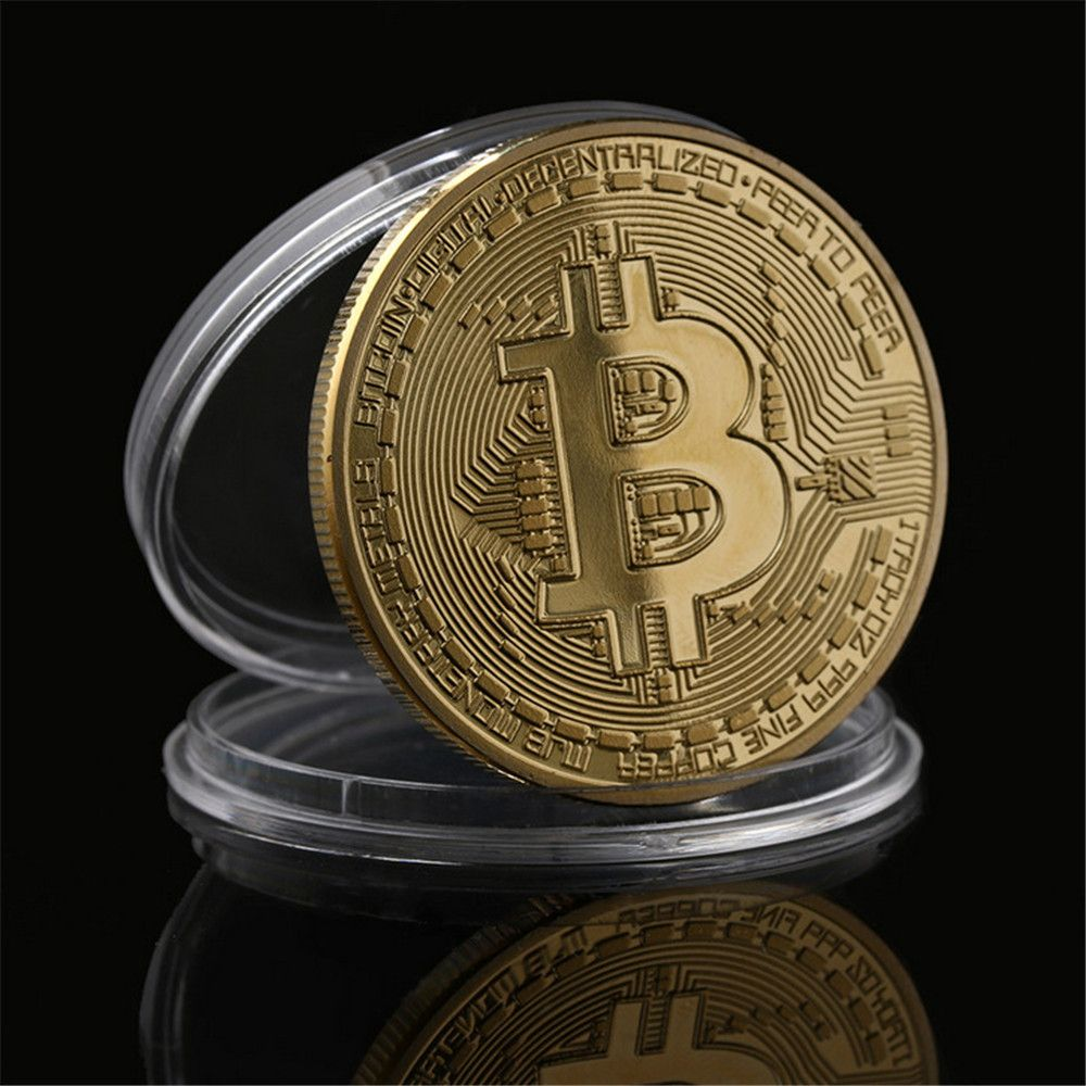 Gilt Wrought Iron Collection Gift Coin Virtual Currency Bitcoin Souvenir