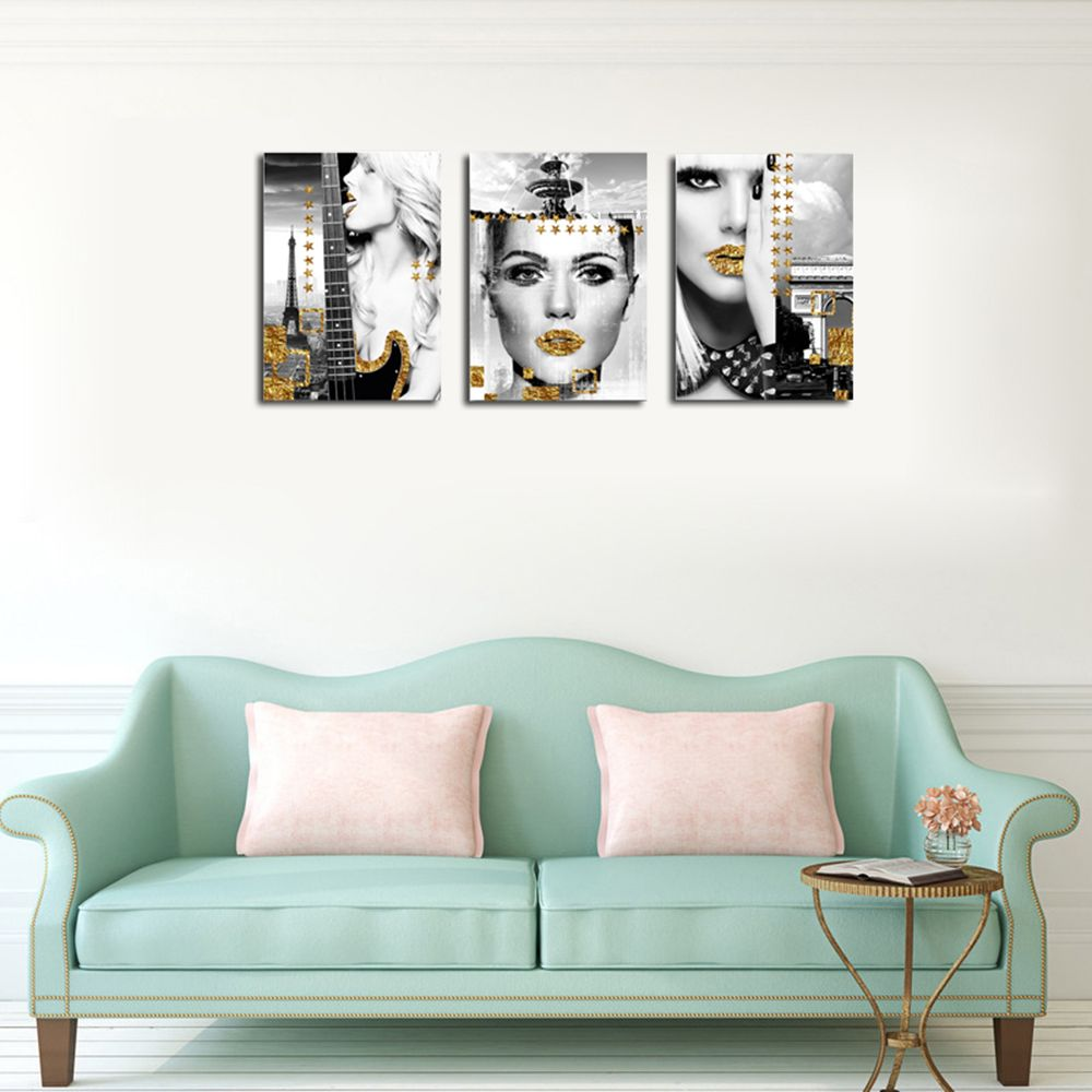 QiaoJiaHuaYuan No Frame Canvas Three Pieces of the Drawing of the Living Room Sofa Background Character Decoration Hangi