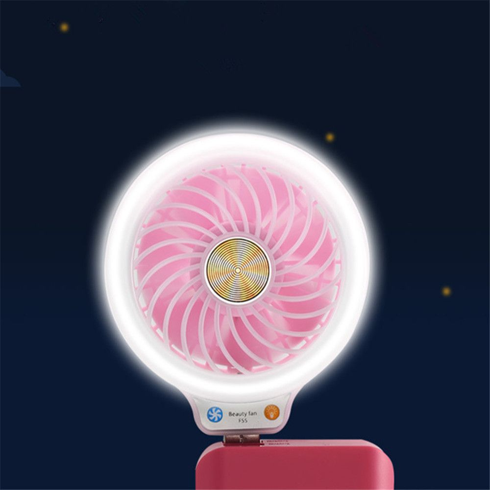 Mini USB Fan Portable Including Power Bank Phone Charger with Internal Lights for Personal Cooling at Any Time
