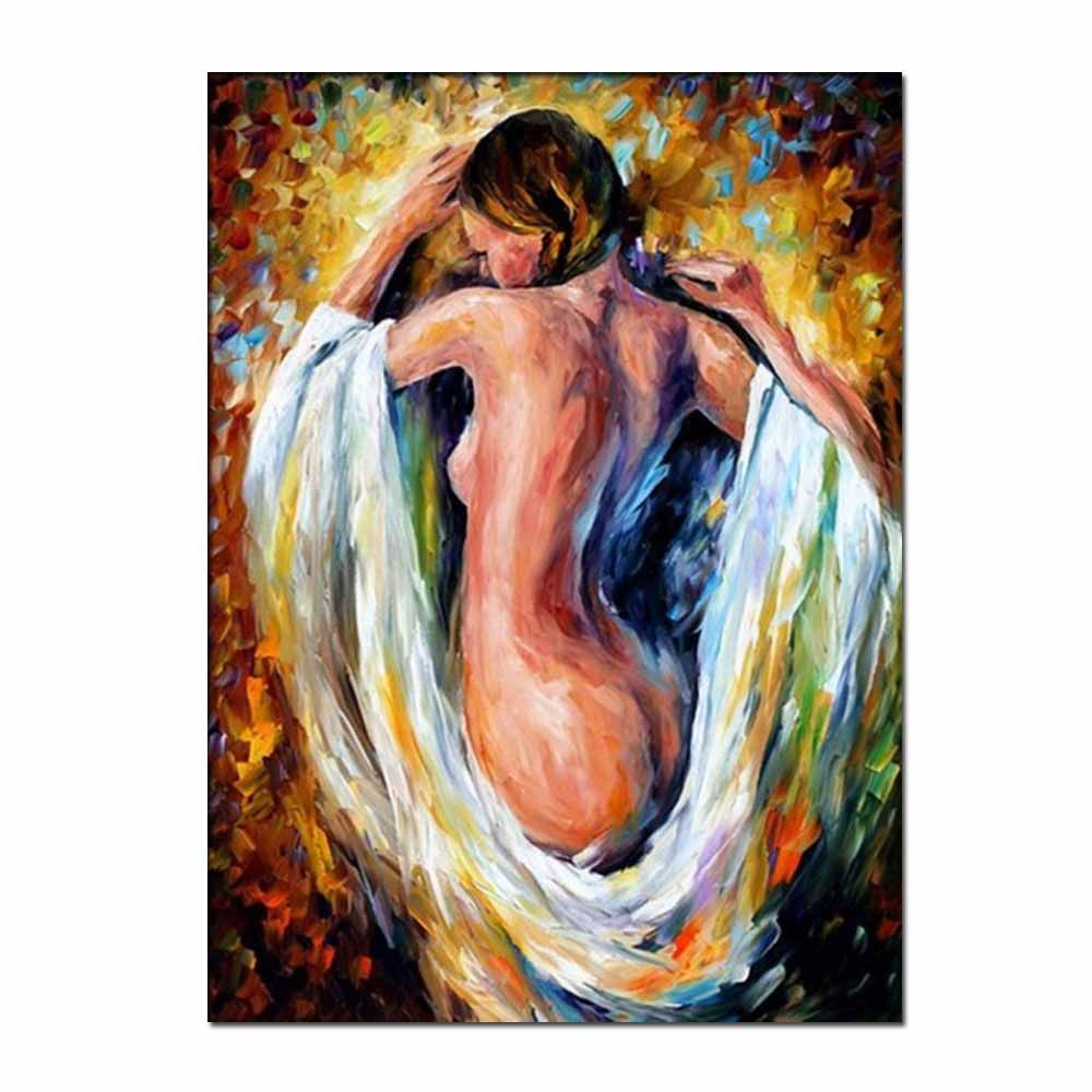 Hand Painted Abstract Palette Knife Oil Pianting Sexy Nude Woman Wall Picture Room Wall Decoration No Framed