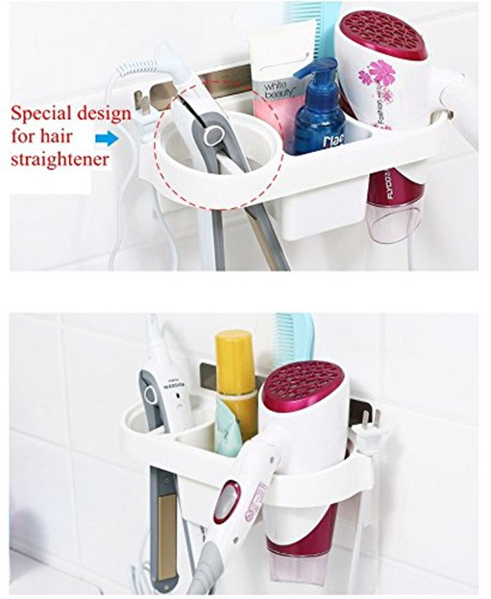 Storage Rack Plastic Hair Dryer Holder Bathroom Wall Storage Rack Electric Plywood Comb Hair Straightener Holder
