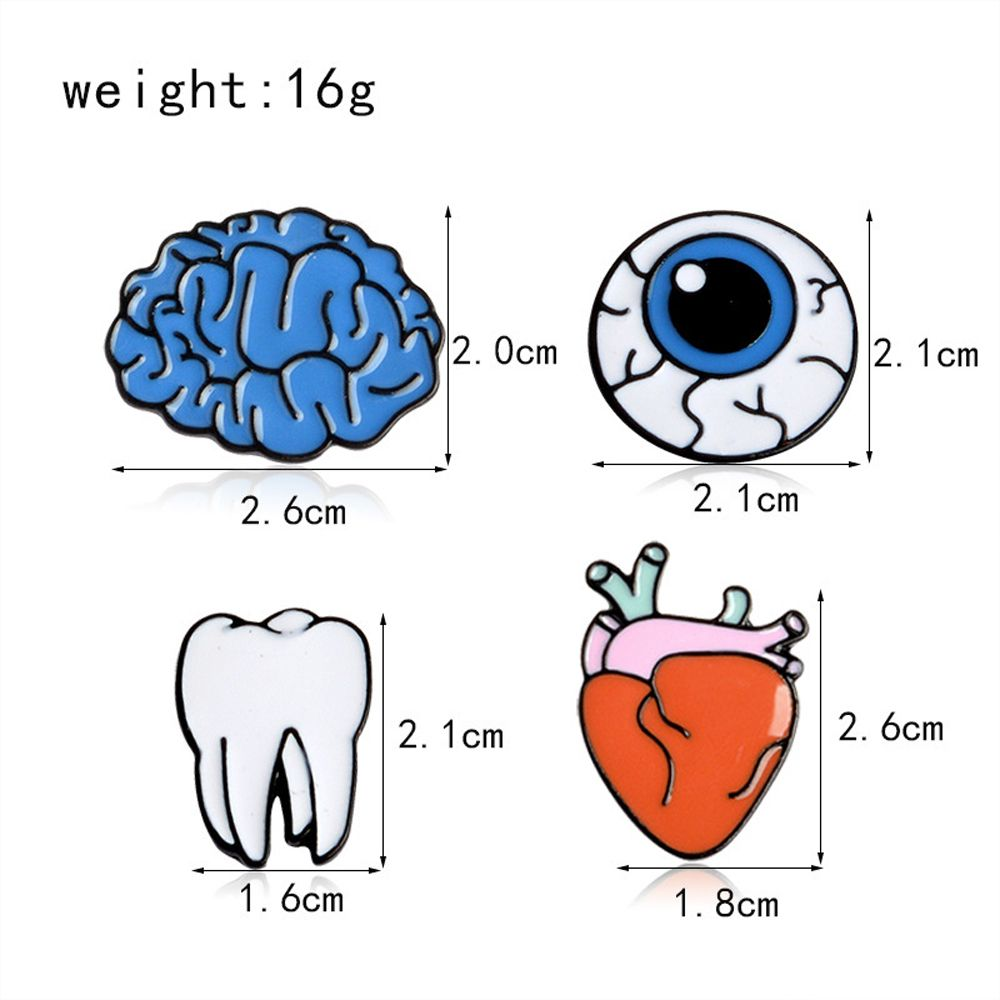 Brain Cartoon Organ Eye Metal Tooth Brooch Button Pins Pins Bag T Shirt Denim Jacket Badge Pin Fashion Jewelry