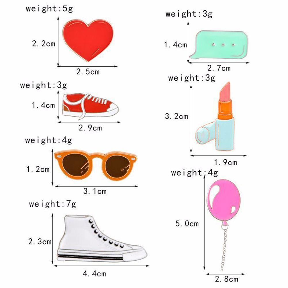 Heart Lipstick Balloon Sneakers Sunglasses Brooch Button Clasp Coat Pin Badge Gift Cartoon Jewelry