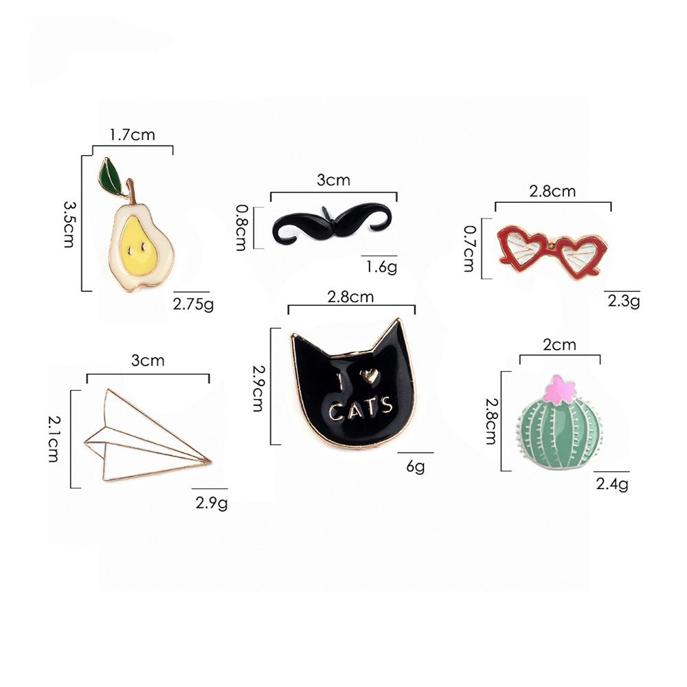 Cartoon Sunglasses Mustache  Cats  Nopal Set of Metal Brooches Button Pins Lapel Pins Pin Jewelry