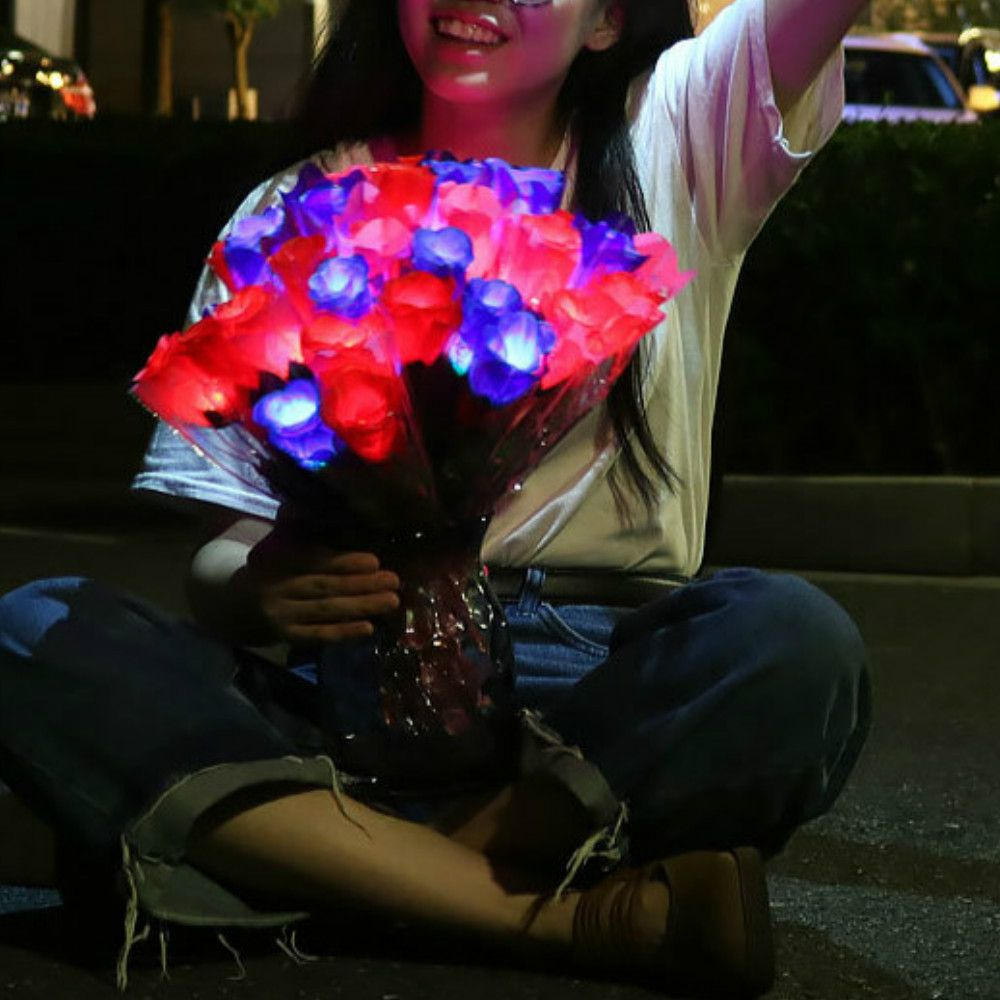 LED Flashing Rose Flower Wedding Anniversary Party Decorations Hair Glow Gift