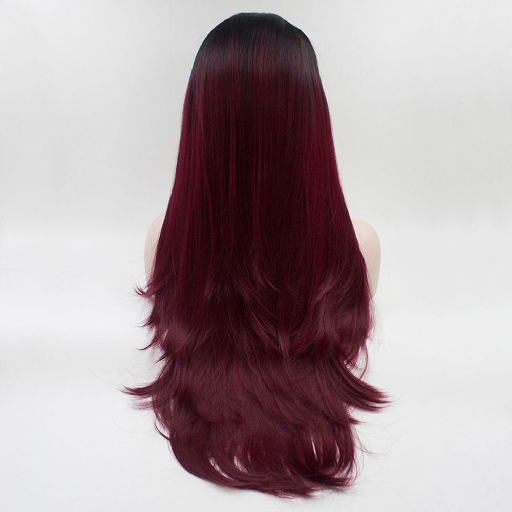 16 - 24 inch Burgundy Color Black Root Long Straight Style Heat Resistant Synthetic Hair Lace Front Wigs for Women