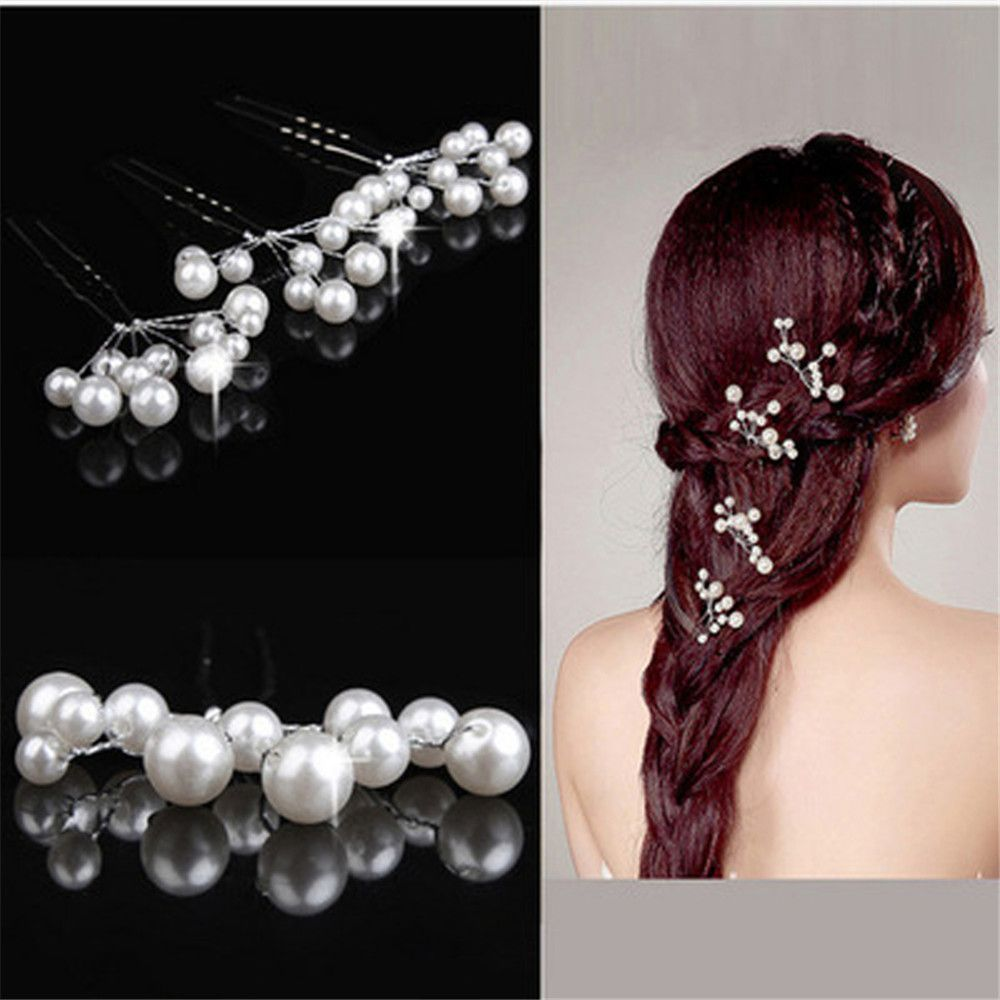 Wedding Bridal Hair Pins Simulate Hairpins Flower Hair Clips for Women Girls Hair Accessories